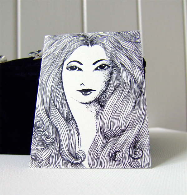 Jessica - ink drawing on aceo card stock