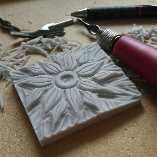 Lorrie whittington having a go at rubber stamp carving