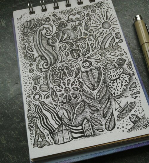 drawn in Polperro, motifs and images suggested by my littleun