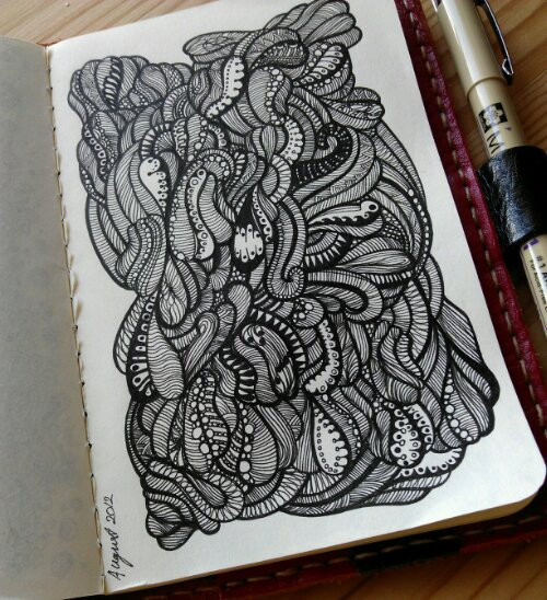 intense doodlage, finished today, not sure what this one is about